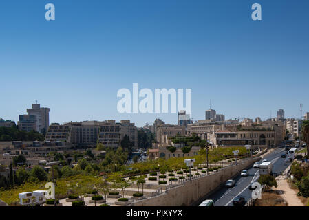 Aerial view of Jerusalem shot from Jaffa Gate - Stock Photo