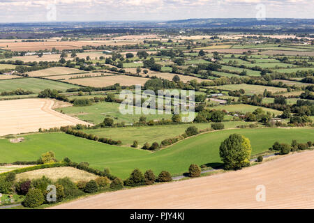 View of Wiltshire Countryside from the top of Westbury White Horse, Westbury, Wiltshire, UK - Stock Photo