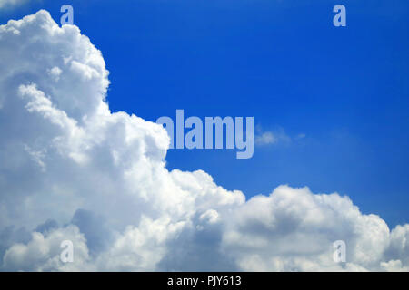 Pure White Fluffy Cumulus Cloud on the Vivid Blue Sky, Texture Background - Stock Photo
