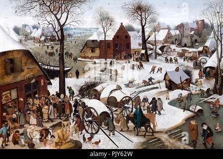 The Census at Bethlehem by Pieter Brueghel the Younger (1564-1638), oil on canvas, c.1610-20 - Stock Photo