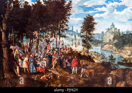 John the Baptist Preaching by Pieter Brueghel the Younger (1564-1638) - Stock Photo
