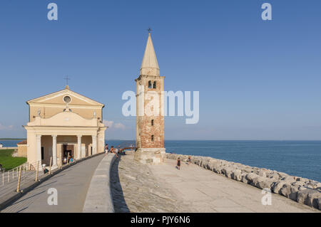 Caorle, Italy (8th September 2018) The Shrine of Our Lady of the Angel on the seashore of Caorle - Stock Photo
