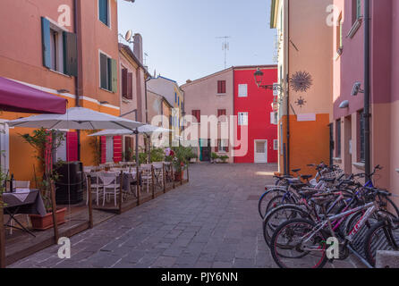 Caorle, Italy (8th September 2018) - Campo Negroni, a colorful small square in the center of Caorle - Stock Photo