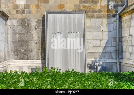 Grave record, Carolo Magno, cathedral, Aachen, North Rhine-Westphalia, Germany, Grabplatte, Dom, Nordrhein-Westfalen, Deutschland - Stock Photo