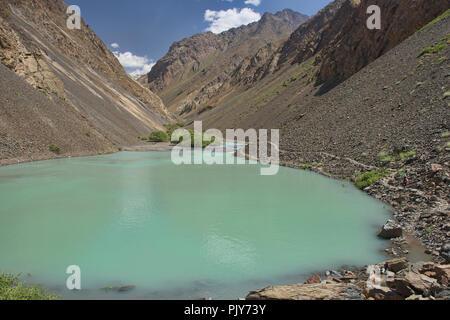 Trekking in the beautiful Jizeu Valley, Bartang Valley, Tajikistan. - Stock Photo