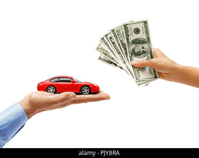 Woman's hand holding money and man's hand holding red car isolated on white background. Close up. High resolution product - Stock Photo