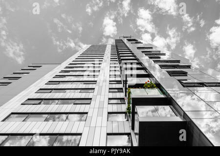 Abstract view of the MoresbyTower - a 24 storey high rise residential building offering luxury accommodation in Southampton, Hampshire, England, UK - Stock Photo