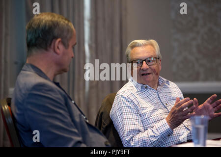 Cardiff, UK. September 2018. Lord Dafydd Elis-Thomas and Ifor ap Glyn, national poet of Wales in discussion at Cardiff Book Festival. - Stock Photo