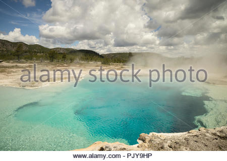 Sapphire Pool at Biscuit Basin, Yellowstone National Park, Wyoming - Stock Photo