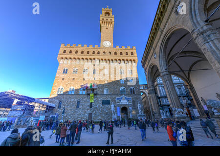 Florence, Italy - March 22, 2018: Arnolfo Tower in Palazzo Vecchio in Florence, Italy - Stock Photo