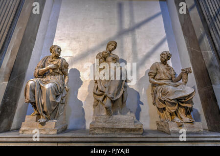 Florence, Italy - March 22, 2018: World famous Tomb of Lorenzo the Magnificent and his brother Giuliano and Michelangelo's, 'Madonna and Child' in Med - Stock Photo