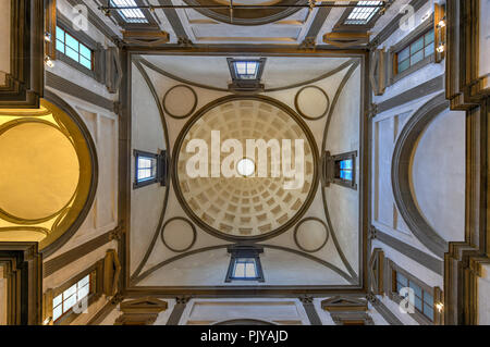 Florence, Italy - March 22, 2018: Interior view of Medici Chapel in Florence, Italy. The landmark is a part of Basilica of San Lorenzo. - Stock Photo