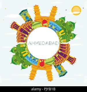 Ahmedabad India City Skyline with Color Buildings, Blue Sky and Copy Space. Vector Illustration. - Stock Photo