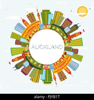 Auckland New Zealand City Skyline with Color Buildings, Blue Sky and Copy Space. Vector Illustration. - Stock Photo