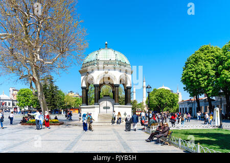 ISTANBUL, TURKEY - April 19, 2018 :: German fountain which is a gift from Wilhelm II in Sultanahmet Square, built in 1898. - Stock Photo