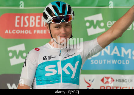 Chris Froome of Team Sky introduced before start of OVO Energy Tour of Britain 2018 Stage 8 in London. Credit: Malcolm Park/Alamy. - Stock Photo