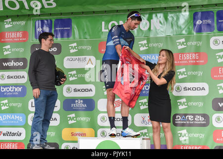 London, UK. 09th Sep, 2018. Alex Paton of Canyon Eisberg won the Eisberg Sprints Classification at Winner's Presentation during 2018 OVO Energy Tour of Britain - Stage Eight: The London Stage on Sunday, September 09, 2018, LONDON ENGLAND: Credit: Taka Wu/Alamy Live - Stock Photo