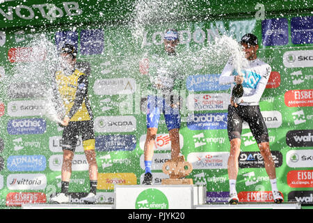 London, UK. 09th Sep, 2018. Julian Alaphilippe (Quick-Step Floors) was crowned the 2018 OVO Energy Tour of Britain as Team Sky's Wout Poels won the 2nd and Team Lotto NL - Jumbo's Primoz Roglic in 3rd place on final stage are celebrating after the final race during 2018 OVO Energy Tour of Britain - Stage Eight: The London Stage on Sunday, September 09, 2018, LONDON ENGLAND: Credit: Taka Wu/Alamy Live News - Stock Photo