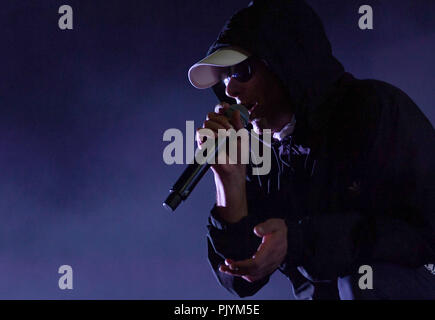Berlin, Germany. 09th Sep, 2018. The musician Trettmann is on stage at the music festival Lollapalooza on the grounds of the Olympic Park. Credit: Britta Pedersen/dpa-Zentralbild/dpa/Alamy Live News - Stock Photo