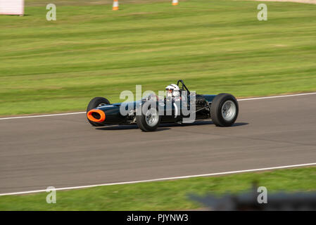Goodwood, UK. 9th Sept 2018. Richard Attwood racing in the Glover Trophy at Goodwood Revival 2018 Credit: Mircea Albeanu/Alamy Live News - Stock Photo