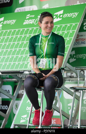 London,UK. 9th September 2018. Dame Sarah Storey, a British road and track racing cyclist, during an interview before the start of Stage 8 of the Tour of Britain 2018, where she and other members of a panel promote women's cycling in the UK and abroad. Credit: Joe Kuis/Alamy Live News - Stock Photo