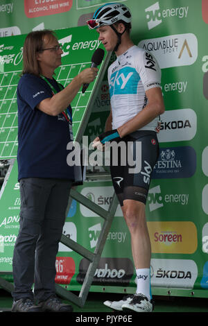 London,UK. 9th September 2018. Interview with Chris Froome of Team Sky, before the last stage of the Tour of Britain. Credit: Joe Kuis/Alamy Live News - Stock Photo