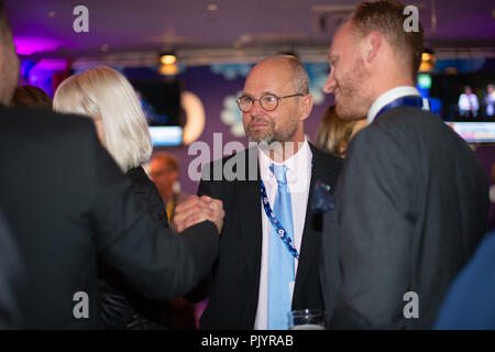 Stockholm, Sweden, September 9, 2018. Swedish General Election 2018.  Election Night Watch Party for Sweden Democrats (SD) in central Stockholm, Sweden. Credit: Barbro Bergfeldt/Alamy Live News - Stock Photo