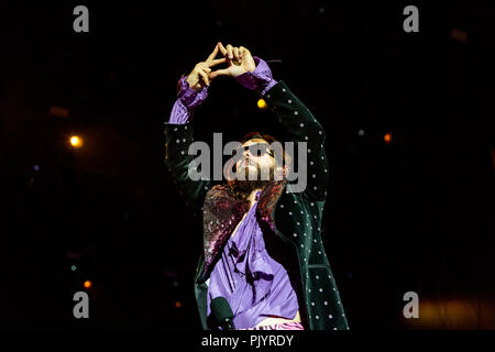 Milan, Italy, 8th September 2018: Thirty Seconds to Mars (Jared and Shannon Leto) perform on stage at Milano Rocks in Italy, at Area Experience in Milan, for their European Tour 2018 - Valeria Portinari/Alamy Live News - Stock Photo