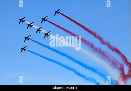 Kleine Brogel. 10th Sep, 2018. Aerobatic team 'Patrouille de France' perform during the Belgian Air Force Day in Kleine Brogel Air Base in Belgium, on Sept. 9, 2018. Credit: Wang XiaoJun) (dtf/Xinhua/Alamy Live News - Stock Photo