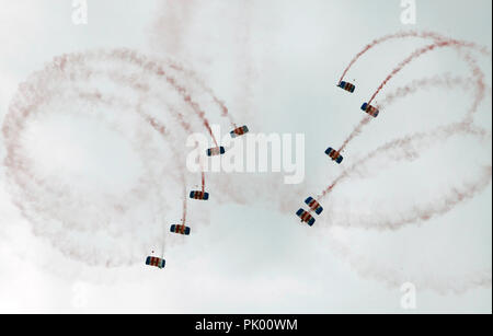 Kleine Brogel. 10th Sep, 2018. British paratroopers perform during the Belgian Air Force Day in Kleine Brogel Air Base in Belgium, on Sept. 9, 2018. Credit: Wang XiaoJun) (dtf/Xinhua/Alamy Live News - Stock Photo