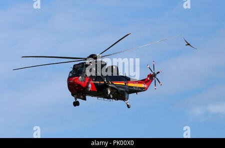 Kleine Brogel. 10th Sep, 2018. A SeaKing helicopter performs during the Belgian Air Force Day in Kleine Brogel Air Base in Belgium, on Sept. 9, 2018. Credit: Wang XiaoJun) (dtf/Xinhua/Alamy Live News - Stock Photo