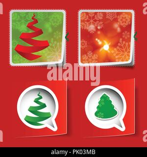 Merry Christmas - Happy Holidays and New Year - Abstract Set of Four Paper Cut Christmas Labels - Speech Bubble, Badge, Flyer, Cover, Greeting Card - Stock Photo