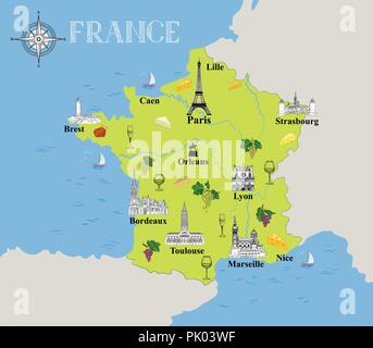 Touristic map of France. Travel background with marked french gastronomic destinations and architectural landmarks icons in hand drawn retro style - Stock Photo
