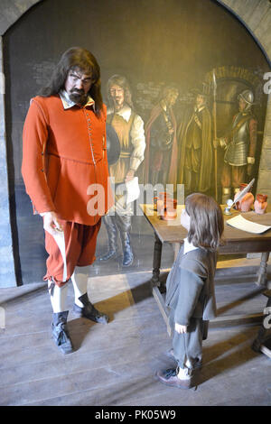 Scene in exhibition about Cromwells Siege of Pembroke. Pembroke Castle, Pembrokeshire, Wales, UK - Stock Photo