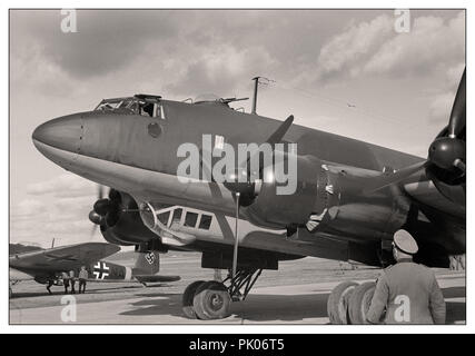 Adolf Hitler's personal Luftwaffe Focke-Wulf Fw 200 Condor with Nazi Swastika insignia fighter escort at Immola Airport during his visit to see Field Marshal Mannerheim 4 June 1942 in Finland - Stock Photo