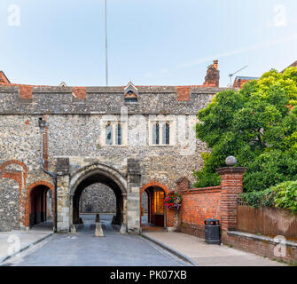 Kingsgate with St Swithun-upon-Kingsgate Church above, medieval city gate in Kingsgate Street, Winchester, Hampshire, southern England, UK - Stock Photo