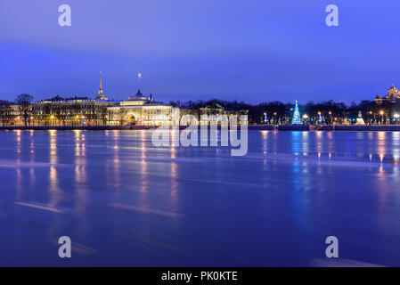 View of Admiralty embankment at night in Saint Petersburg, Russia - Stock Photo