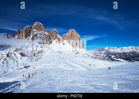 Ski resort in Dolomites, Italy - Stock Photo