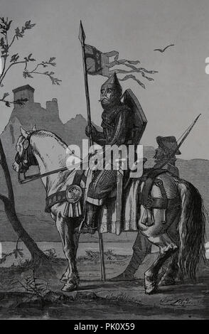 Ottonian dynasty period. 10th-11th centuries. Germany. Cavalryman. Engraving of Germania, 1882. - Stock Photo
