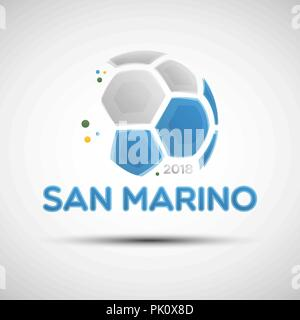 Football championship banner. Flag of San Marino. Vector illustration of abstract soccer ball with San Marino national flag colors for your design - Stock Photo
