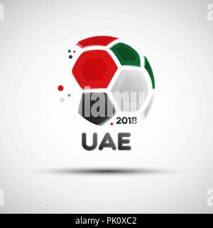 Football championship banner. Flag of UAE. Vector illustration of abstract soccer ball with United Arab Emirates national flag colors for your design - Stock Photo