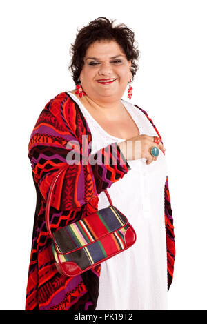 portrait of cheerful woman with her bags, isolated on white background - Stock Photo