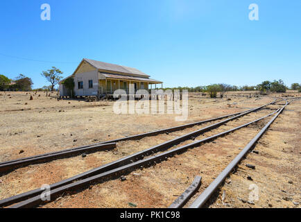 View of Almaden railway station, where the Savannahlander stops, Northern Queensland, QLD, Australia - Stock Photo