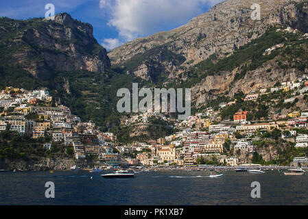 Beautiful view of Positano village on a sunny day along Amalfi Coast in Italy - Stock Photo