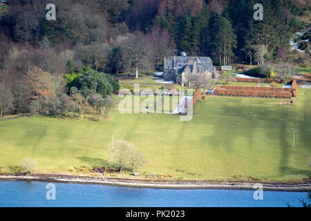 Ardtaraig House Ardtaraig Estate Glen Lean Loch Striven near Dunoon Argyll Scotland U.K. exterior view traditional 17th century scots revival two stor - Stock Photo