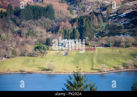 Ardtaraig House Ardtaraig Estate Glen Lean Loch Striven near Dunoon Argyll Scotland U.K. elevated view traditional 17th century scots revival two stor - Stock Photo