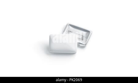 Blank White Square Badge Stack Mockup Front And Back Side Isolated