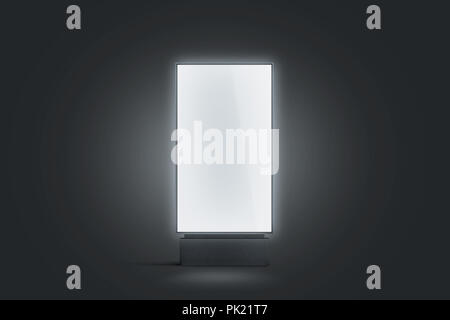Blank white glowing pylon mockup, isolated in darkness, 3d rendering. Empty luminous advertising panel mock up. Clear street banner front view. Outdoo - Stock Photo