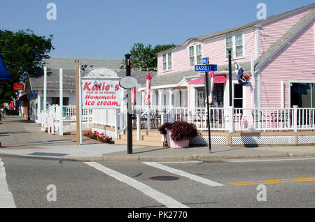 Street scene on Main Street downtown Hyannis, Cape Cod Massachusetts USA on a quiet morning in summer showing Katie's homemade ice cream store - Stock Photo