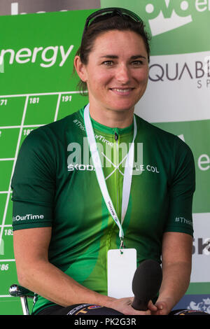 London, UK. 9th September, 2018. Dame Sarah Storey DBE is interviewed before the 77km London Stage (Stage 8) of the OVO Energy Tour of Britain cycle race. Credit: Mark Kerrison/Alamy Live News - Stock Photo